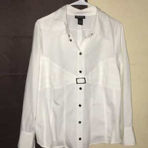 White shirt that buttons half way down